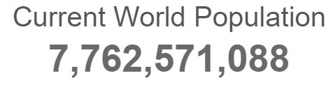 جمعیت فعلی زمین